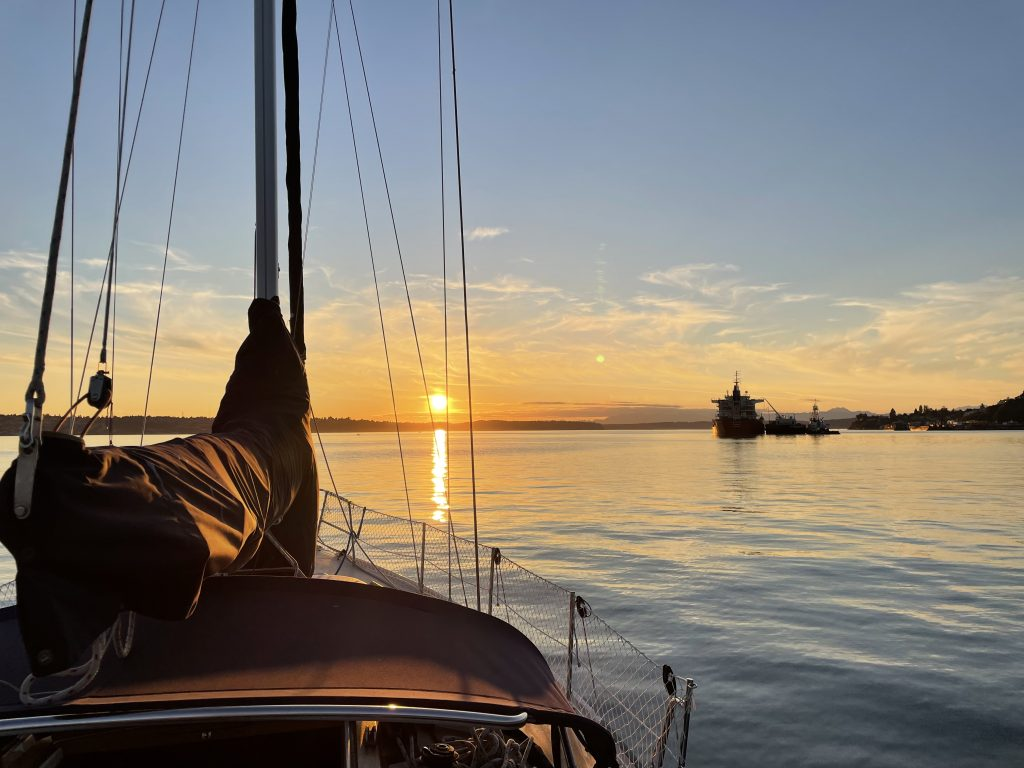 Sunset over Commencement Bay from S/V Shadow